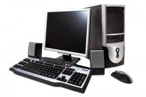 desktop computer with lcd monitor, keyboard, speaker and mouse,
