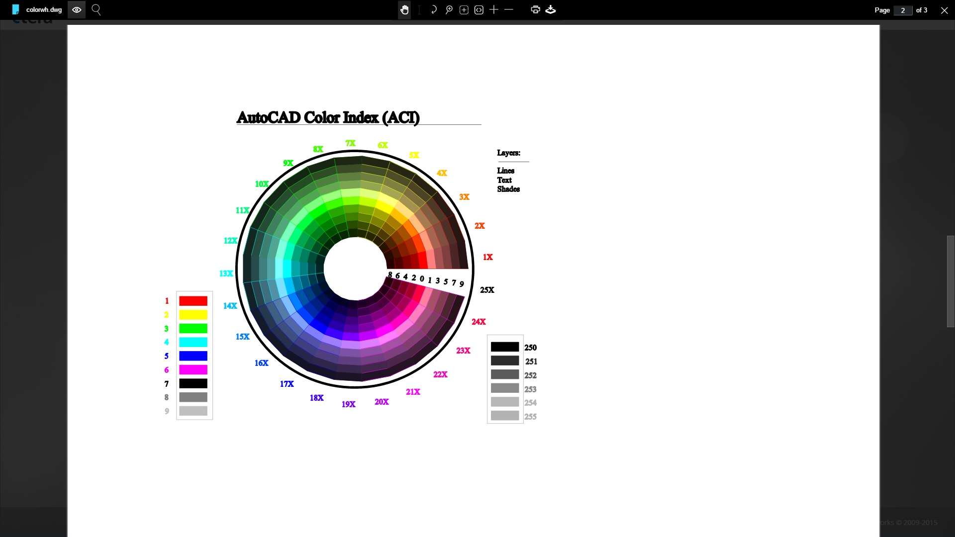"""AutoCAD """"color wheel"""" in-browser preview"""