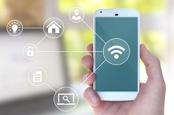 Modern mobile smart phone connecting to wifi automation apps in